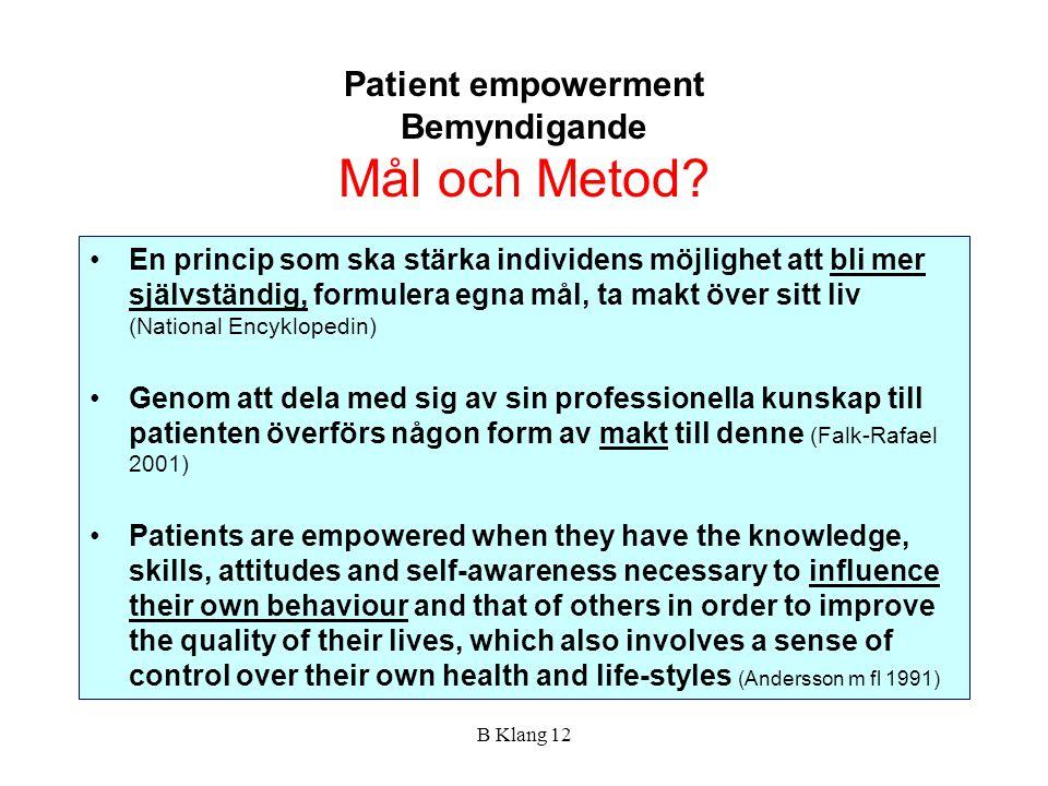 Patient empowerment Bemyndigande Mål och Metod