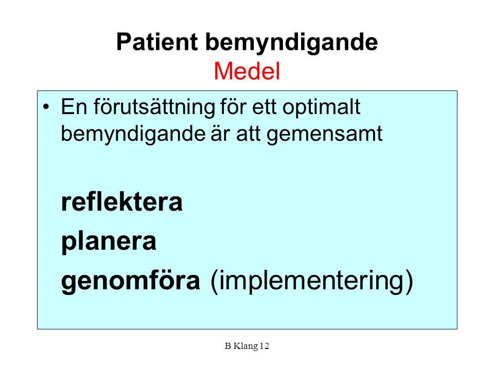 Patient bemyndigande Medel