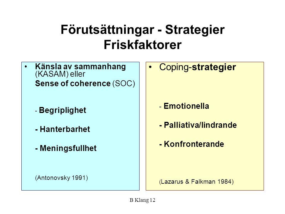 Förutsättningar - Strategier Friskfaktorer
