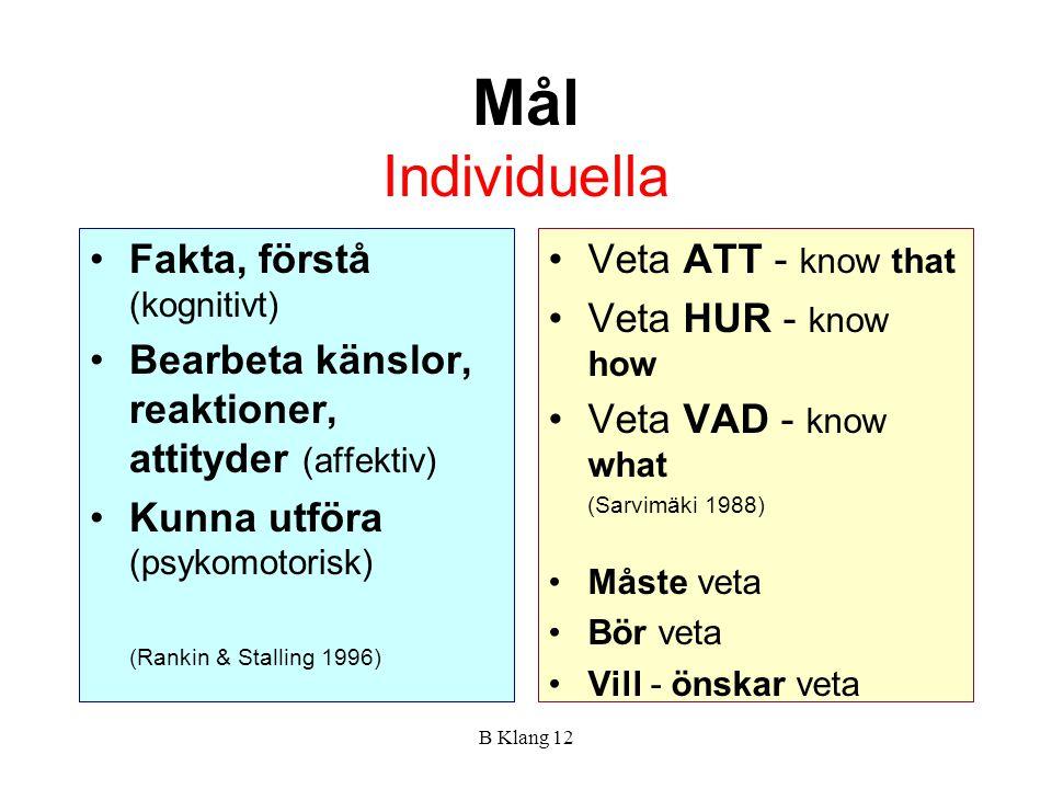 Mål Individuella Fakta, förstå (kognitivt)