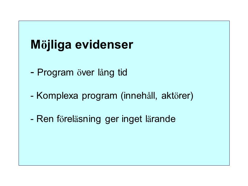 Möjliga evidenser - Program över lång tid - Komplexa program (innehåll, aktörer) - Ren föreläsning ger inget lärande