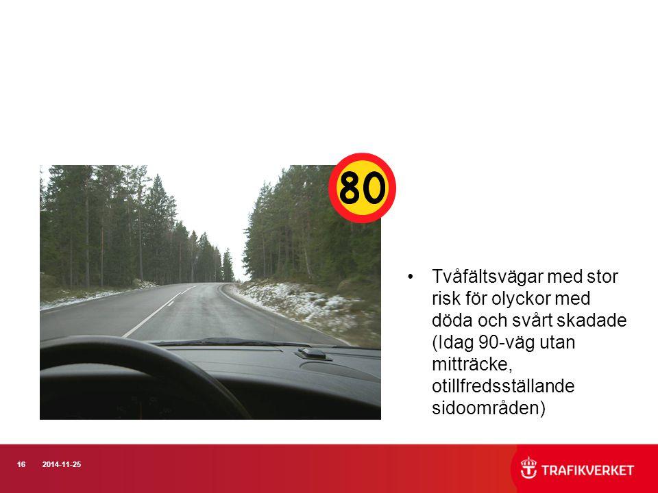 Tvåfältsvägar med stor risk för olyckor med döda och svårt skadade (Idag 90-väg utan mitträcke, otillfredsställande sidoområden)