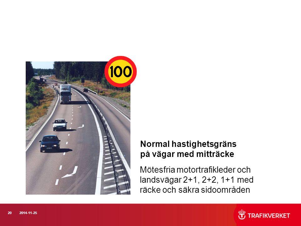Normal hastighetsgräns på vägar med mitträcke