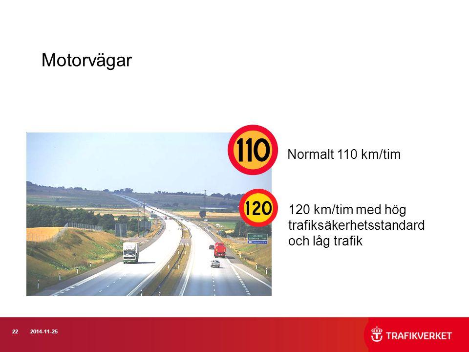 Motorvägar Normalt 110 km/tim