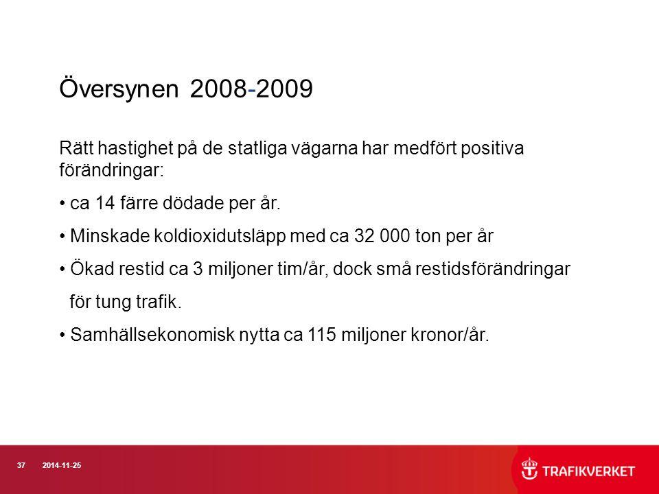 Översynen 2008-2009 Rätt hastighet på de statliga vägarna har medfört positiva förändringar: ca 14 färre dödade per år.