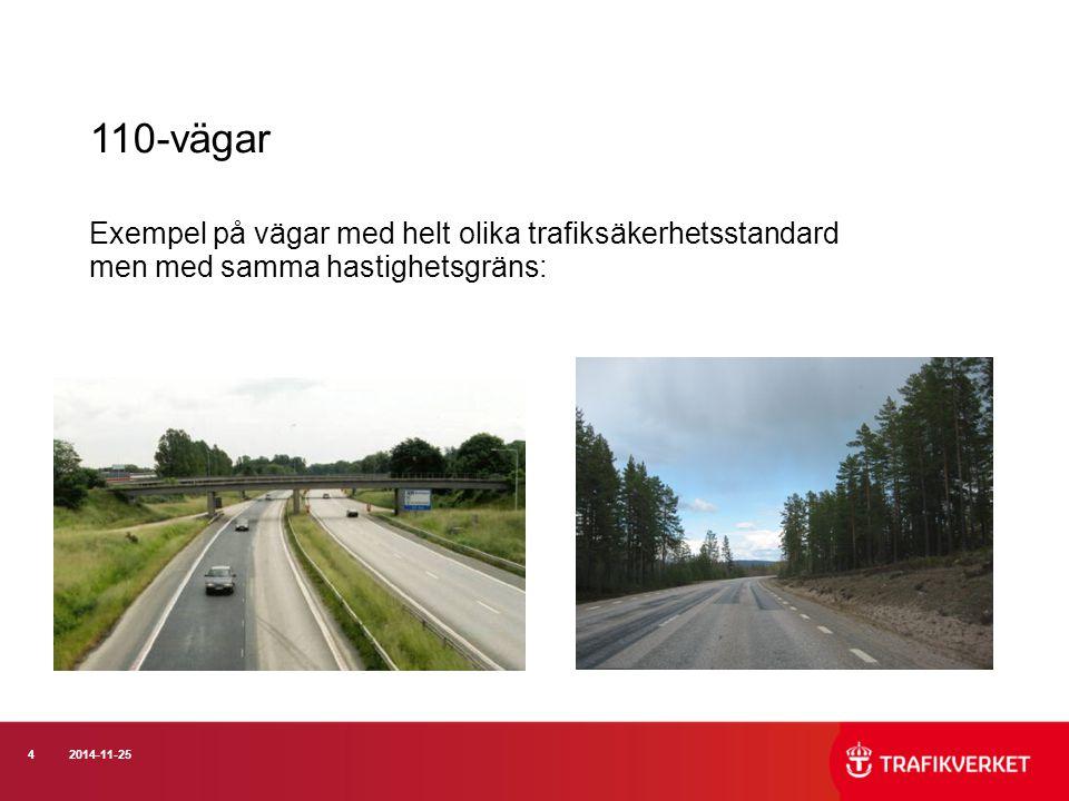 110-vägar Exempel på vägar med helt olika trafiksäkerhetsstandard men med samma hastighetsgräns:
