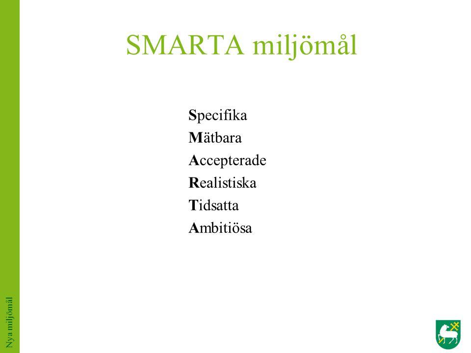 SMARTA miljömål Specifika Mätbara Accepterade Realistiska Tidsatta