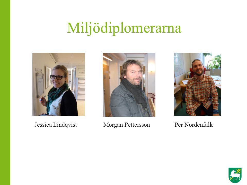 Miljödiplomerarna Jessica Lindqvist Morgan Pettersson Per Nordenfalk