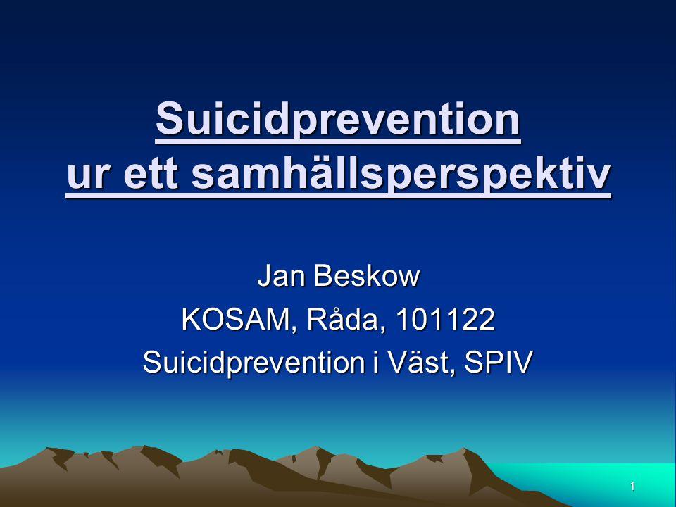 Suicidprevention ur ett samhällsperspektiv
