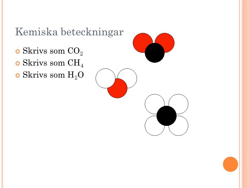 Kemiska beteckningar Skrivs som CO2 Skrivs som CH4 Skrivs som H2O