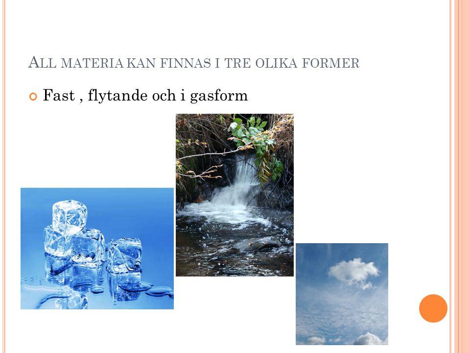 All materia kan finnas i tre olika former