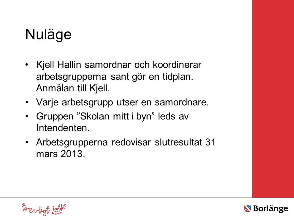 Nuläge Kjell Hallin samordnar och koordinerar arbetsgrupperna sant gör en tidplan. Anmälan till Kjell.