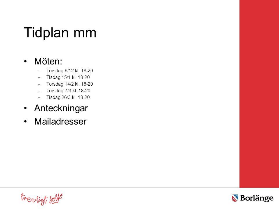 Tidplan mm Möten: Anteckningar Mailadresser Torsdag 6/12 kl. 18-20