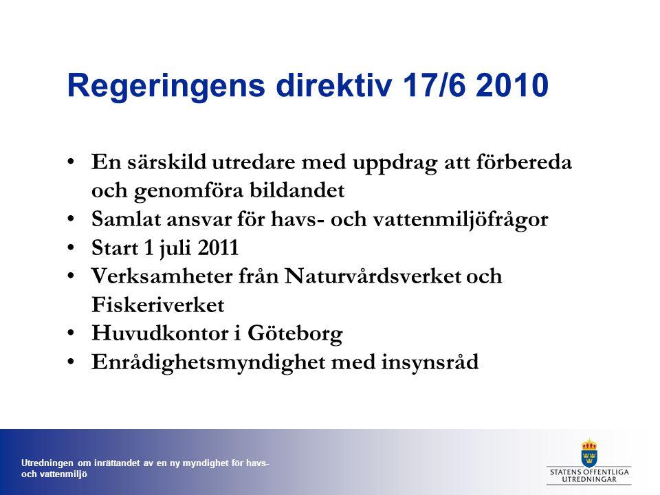 Regeringens direktiv 17/6 2010