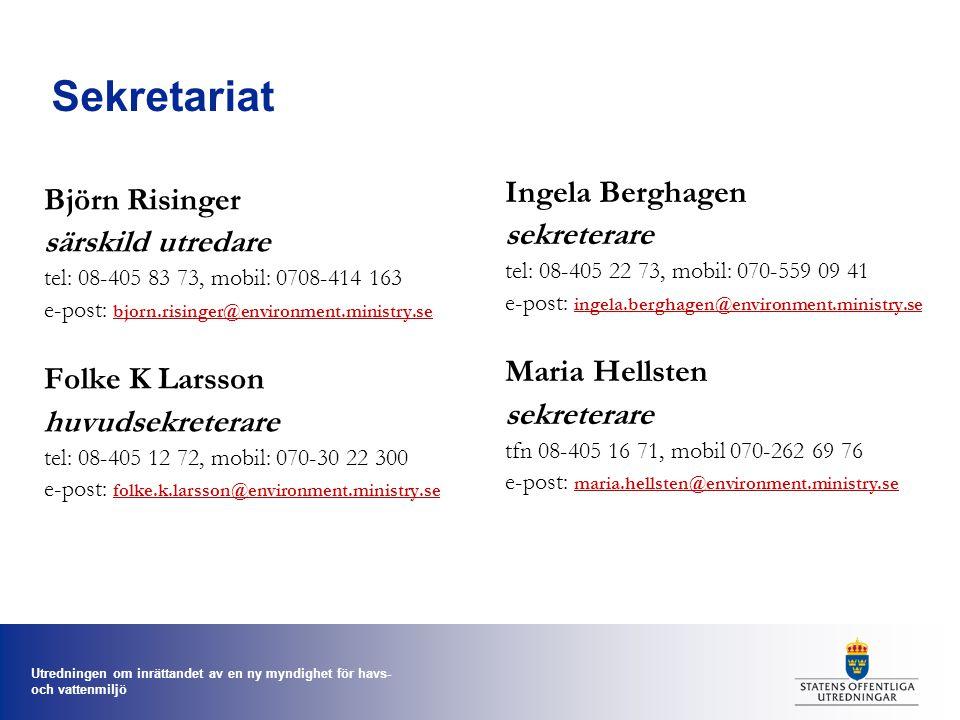 Sekretariat Ingela Berghagen Björn Risinger sekreterare