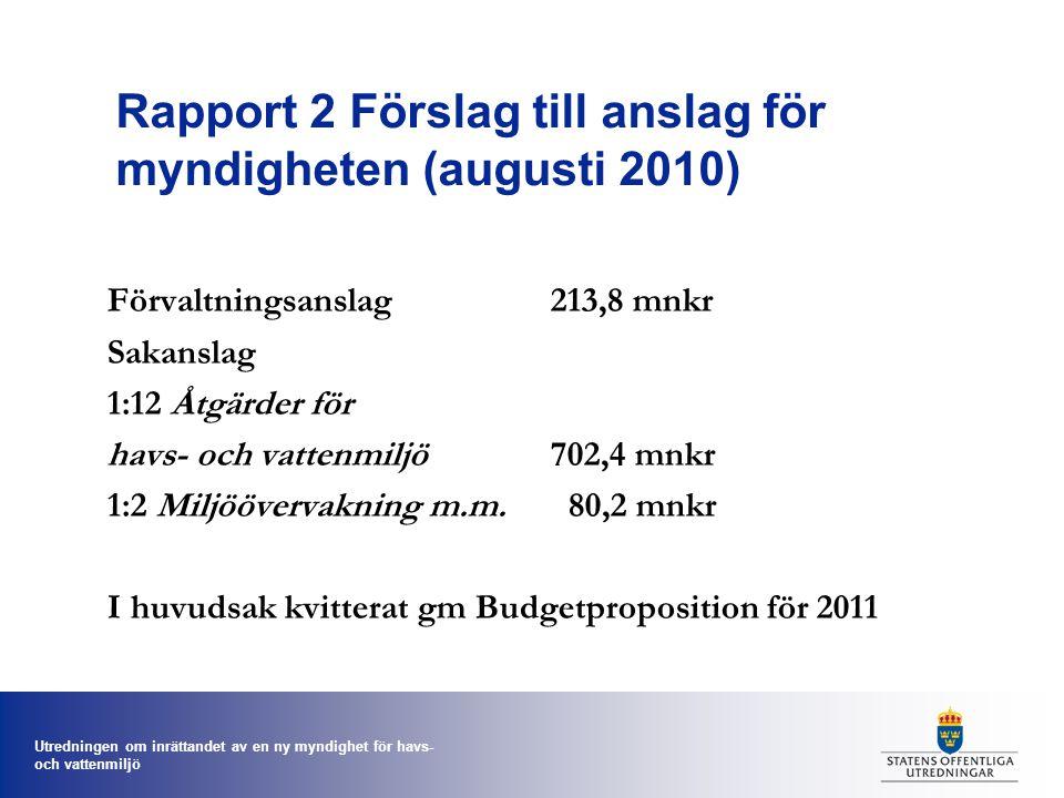 Rapport 2 Förslag till anslag för myndigheten (augusti 2010)