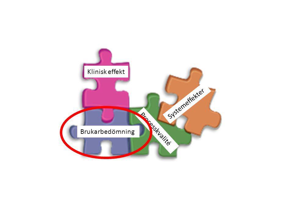 Klinisk effekt Systemeffekter Brukarbedömning Processkvalité