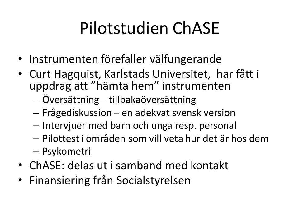 Pilotstudien ChASE Instrumenten förefaller välfungerande