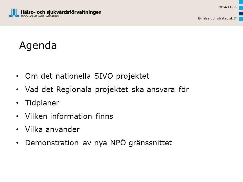 Agenda Om det nationella SIVO projektet