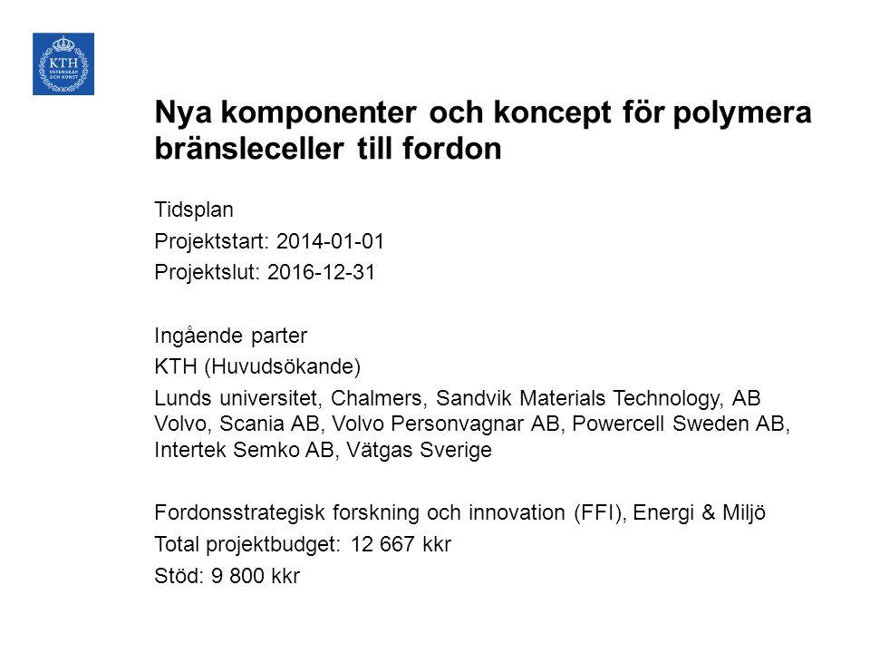 Nya komponenter och koncept för polymera bränsleceller till fordon