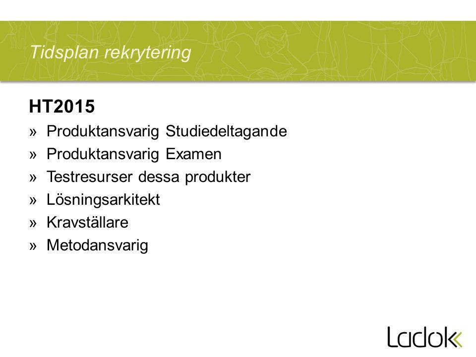 Tidsplan rekrytering HT2015 Produktansvarig Studiedeltagande