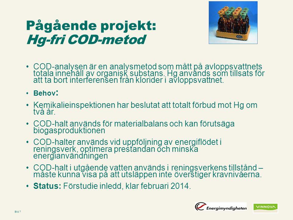 Pågående projekt: Hg-fri COD-metod