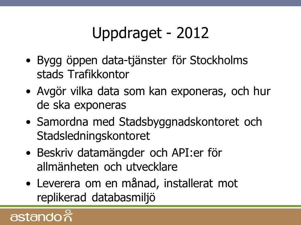 Uppdraget - 2012 Bygg öppen data-tjänster för Stockholms stads Trafikkontor. Avgör vilka data som kan exponeras, och hur de ska exponeras.