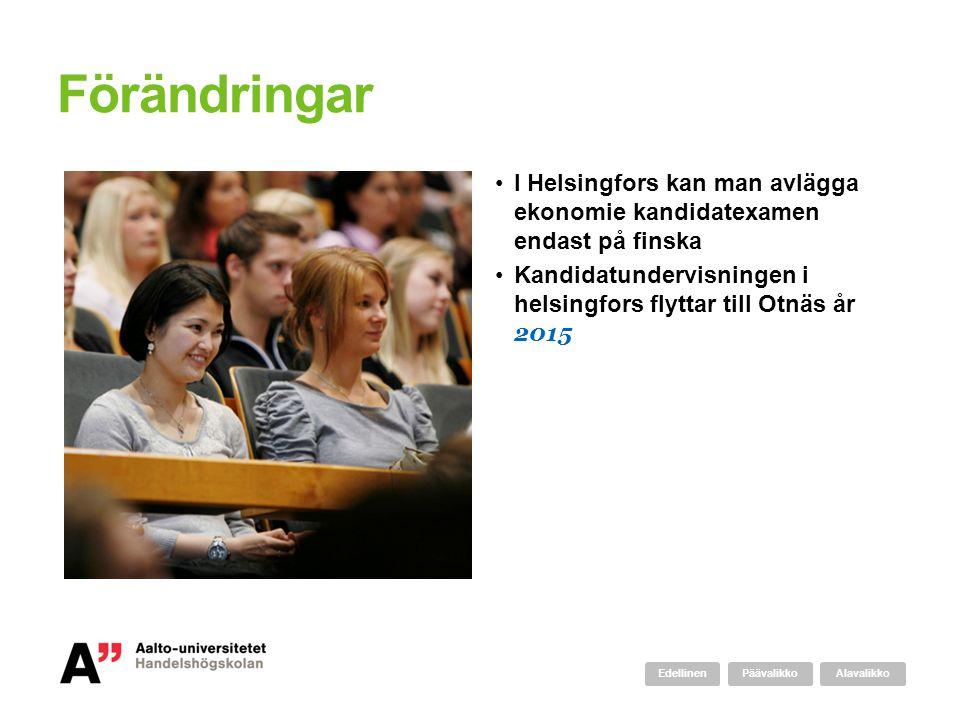 Förändringar I Helsingfors kan man avlägga ekonomie kandidatexamen endast på finska. Kandidatundervisningen i helsingfors flyttar till Otnäs år 2015.