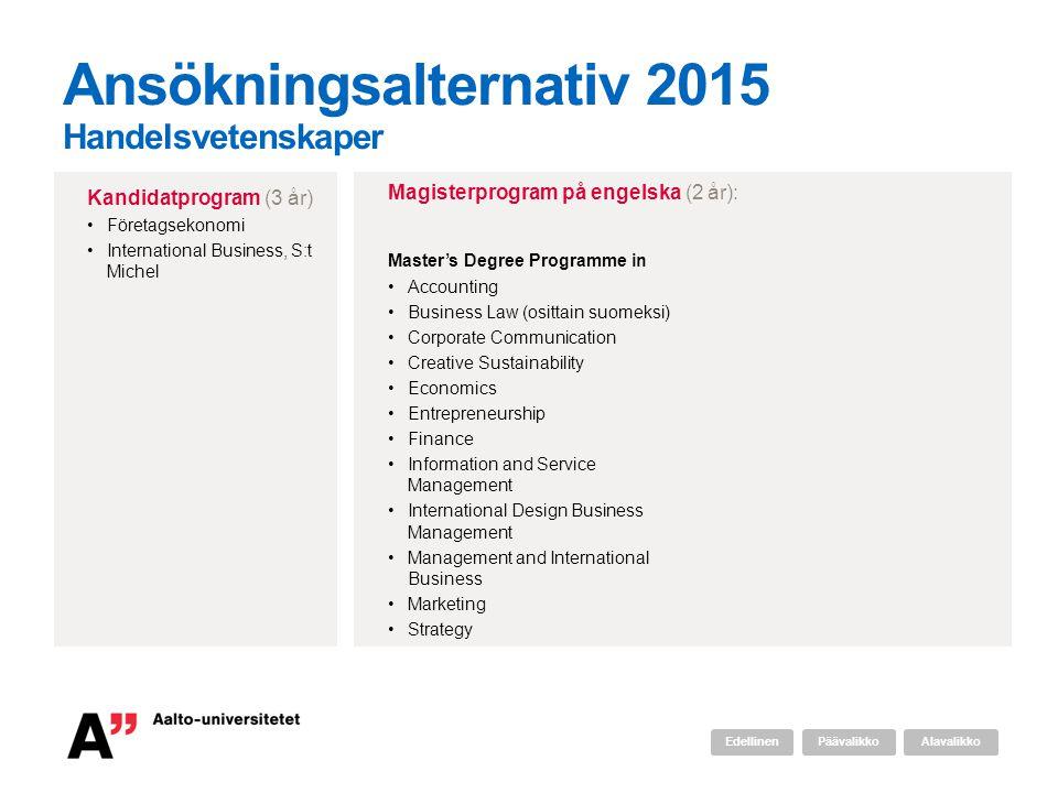 Ansökningsalternativ 2015 Handelsvetenskaper