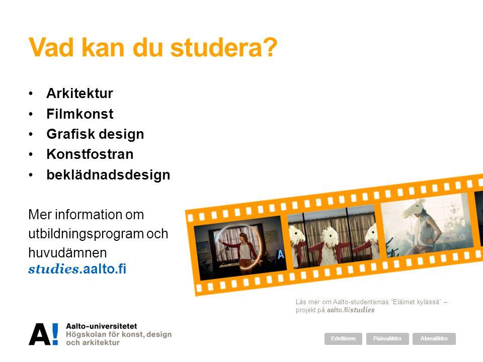 Vad kan du studera Arkitektur Filmkonst Grafisk design Konstfostran