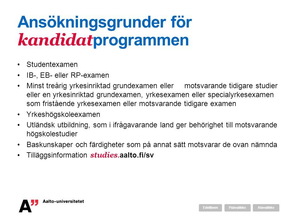 Ansökningsgrunder för kandidatprogrammen