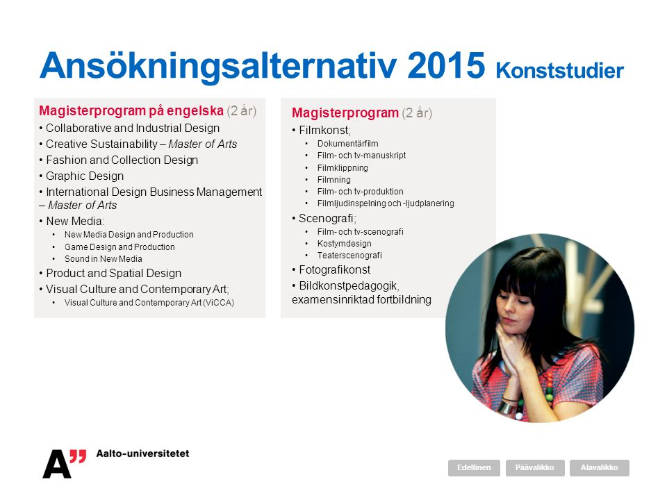 Ansökningsalternativ 2015 Konststudier