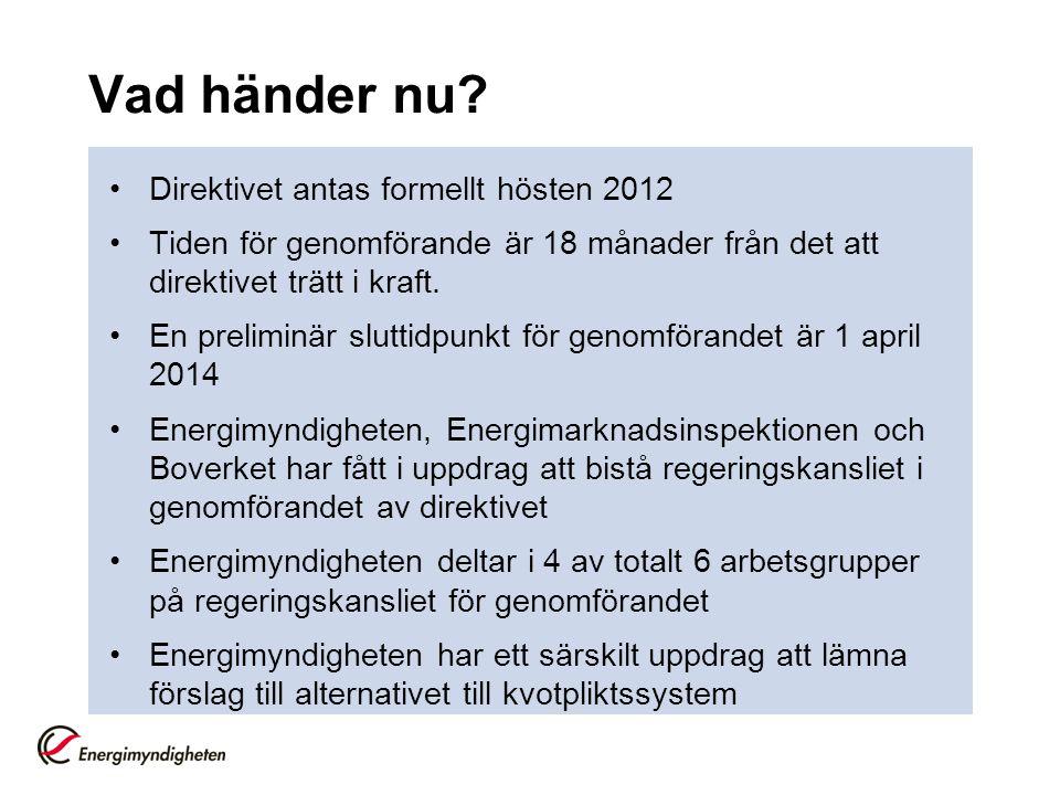 Vad händer nu Direktivet antas formellt hösten 2012