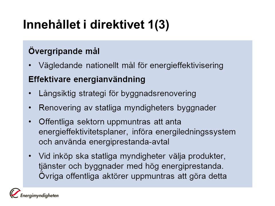 Innehållet i direktivet 1(3)