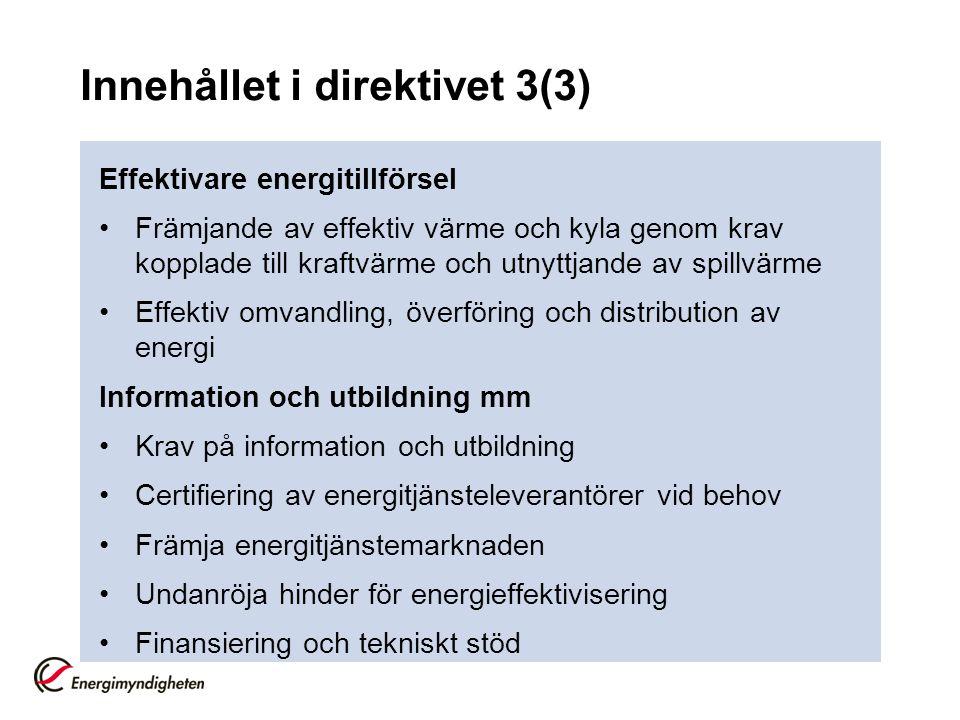 Innehållet i direktivet 3(3)