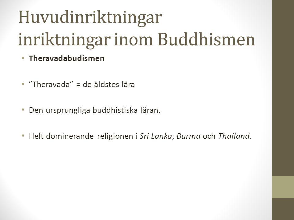 Huvudinriktningar inriktningar inom Buddhismen