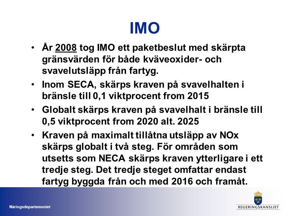 IMO År 2008 tog IMO ett paketbeslut med skärpta gränsvärden för både kväveoxider- och svavelutsläpp från fartyg.