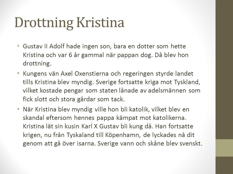 Drottning Kristina Gustav II Adolf hade ingen son, bara en dotter som hette Kristina och var 6 år gammal när pappan dog. Då blev hon drottning.