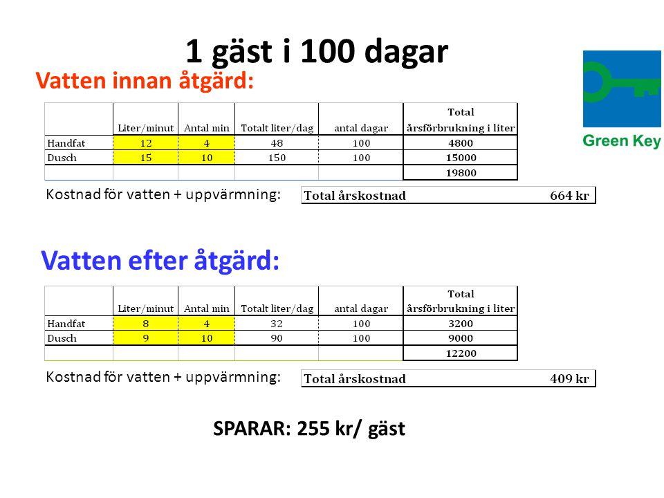 1 gäst i 100 dagar Vatten efter åtgärd: Vatten innan åtgärd: