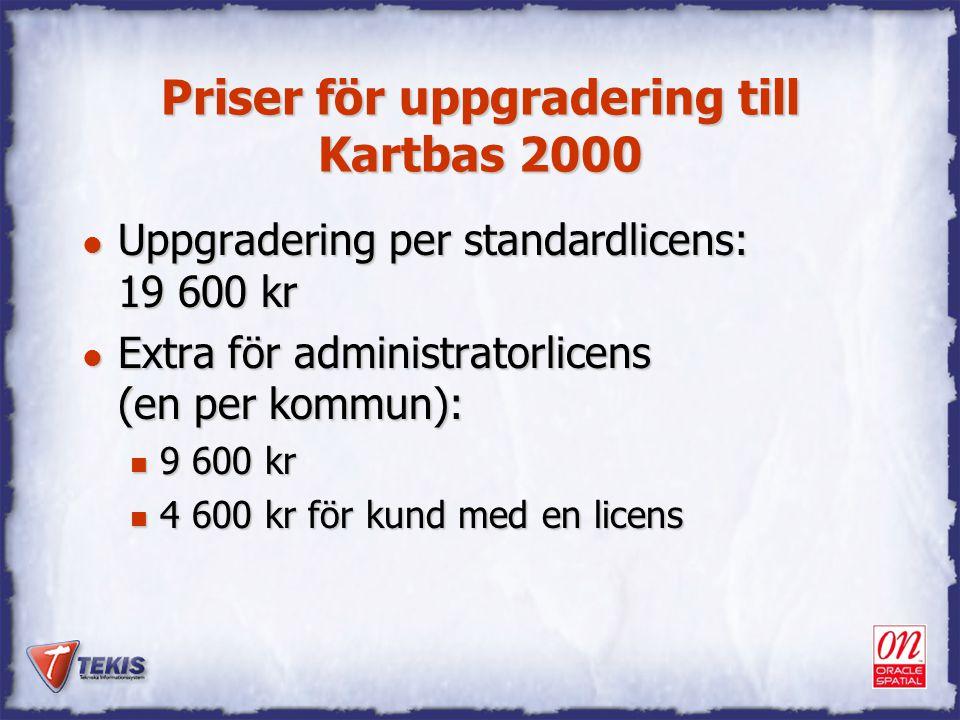 Priser för uppgradering till Kartbas 2000