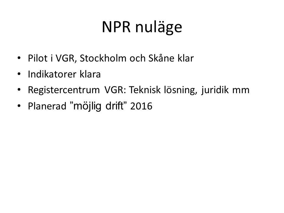 NPR nuläge Pilot i VGR, Stockholm och Skåne klar Indikatorer klara