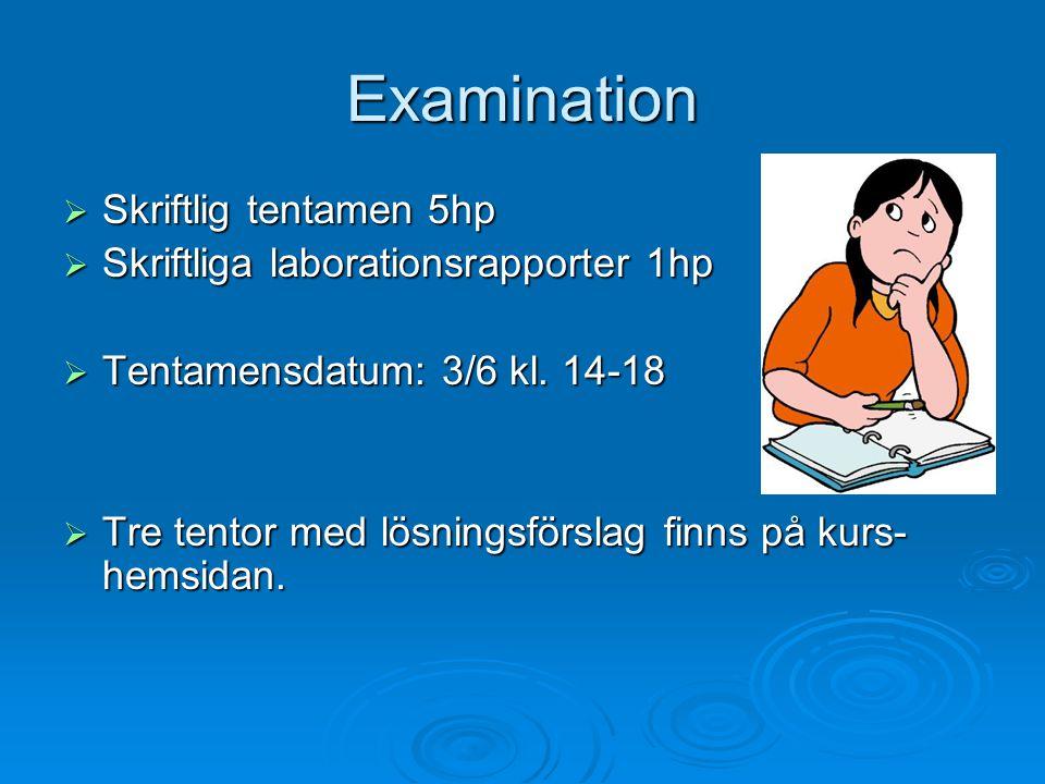Examination Skriftlig tentamen 5hp Skriftliga laborationsrapporter 1hp