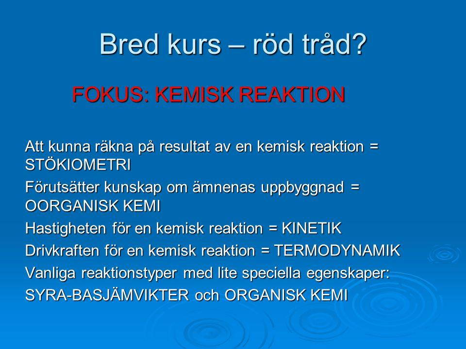 Bred kurs – röd tråd FOKUS: KEMISK REAKTION