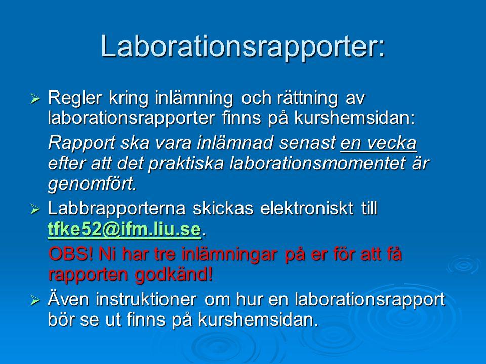 Laborationsrapporter:
