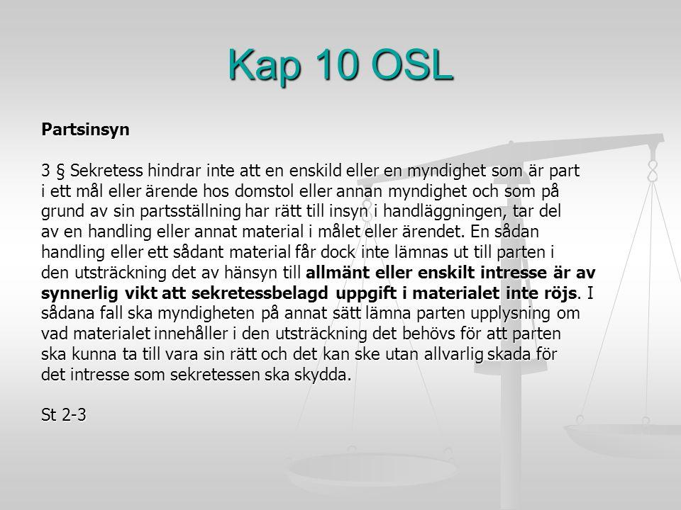 Kap 10 OSL Partsinsyn. 3 § Sekretess hindrar inte att en enskild eller en myndighet som är part.