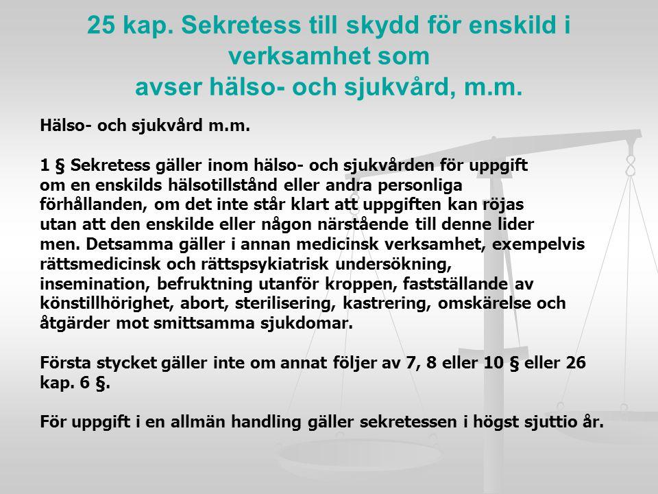 25 kap. Sekretess till skydd för enskild i verksamhet som avser hälso- och sjukvård, m.m.