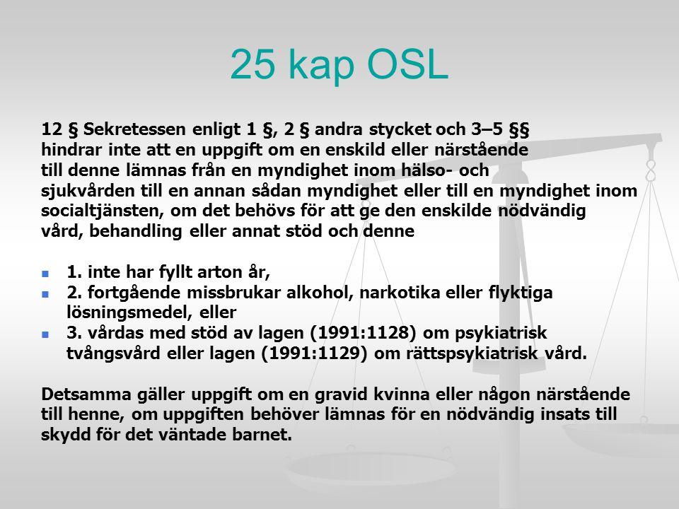25 kap OSL 12 § Sekretessen enligt 1 §, 2 § andra stycket och 3–5 §§