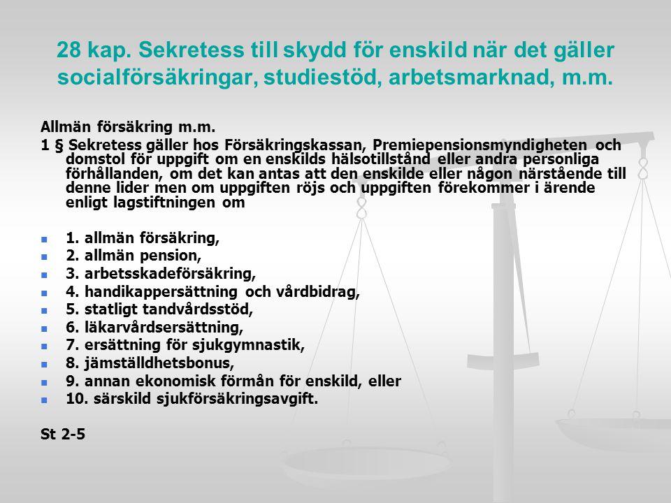 28 kap. Sekretess till skydd för enskild när det gäller socialförsäkringar, studiestöd, arbetsmarknad, m.m.