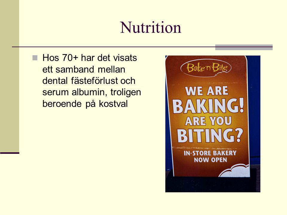 Nutrition Hos 70+ har det visats ett samband mellan dental fästeförlust och serum albumin, troligen beroende på kostval.