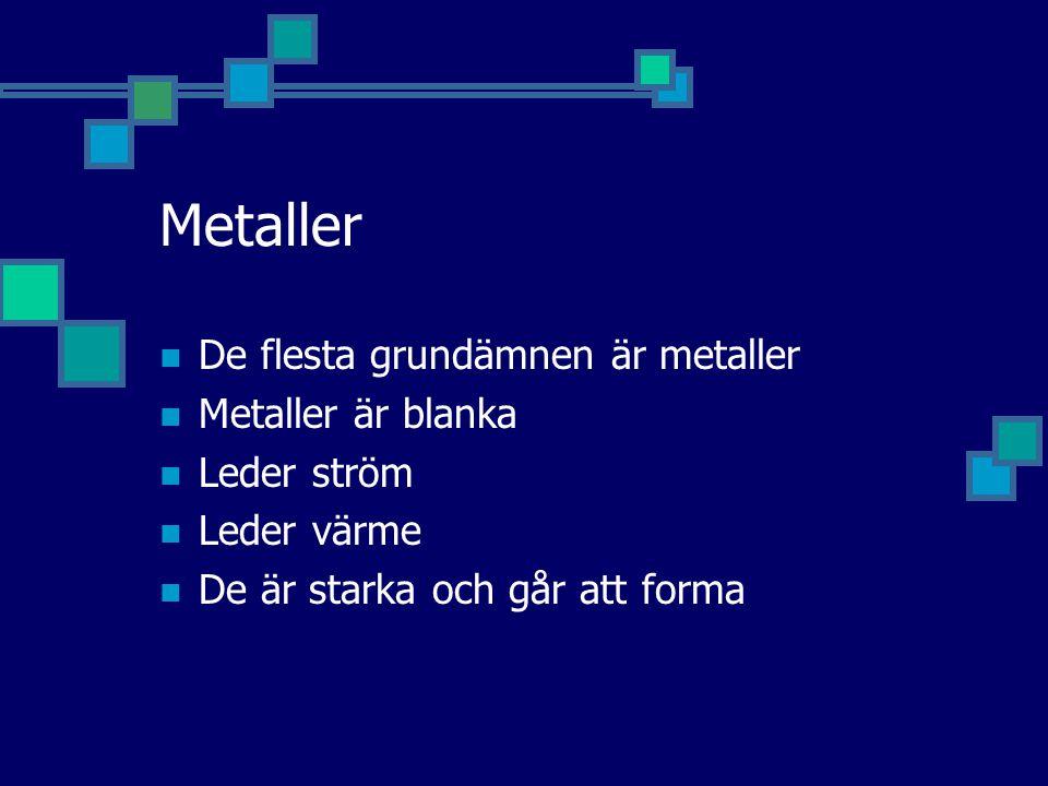 Metaller De flesta grundämnen är metaller Metaller är blanka